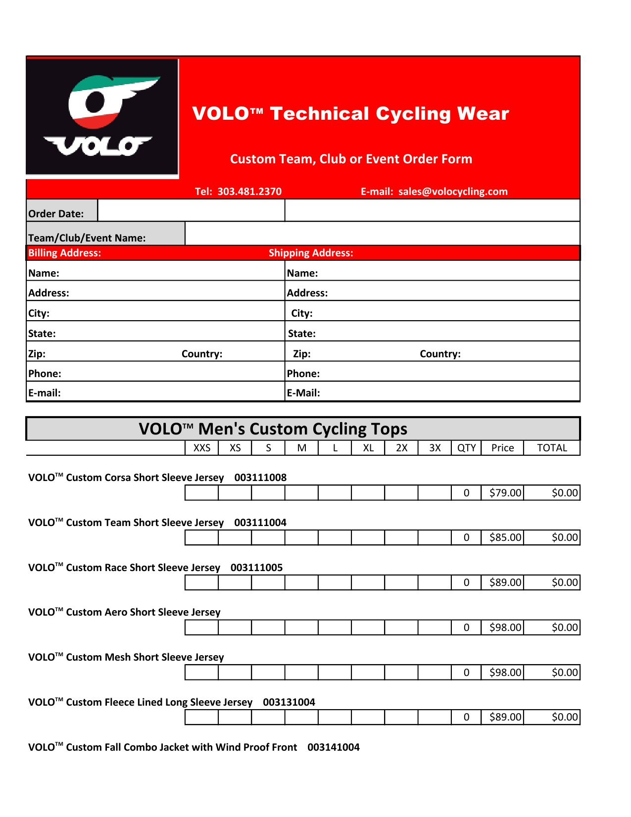 Custom Clothing Order Form – Event Order Form